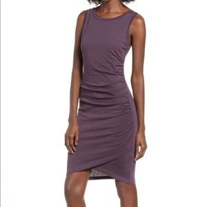 Leith ruched bodycon dress plum